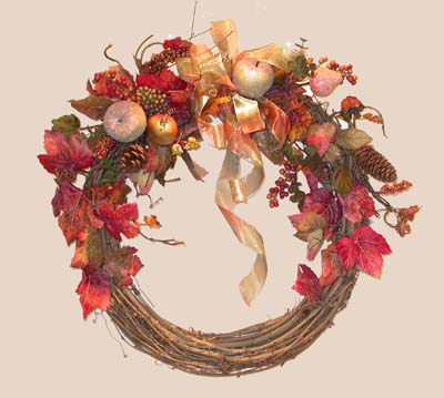 Shaganappi Designs - Fall Fruit, Ribbon and Berries Wreath